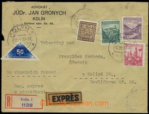 74738 - 1937 Reg and Express return receipt, letter in the place, st