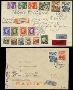 74801 - 1940-44 sestava 5ks leteckých dopisů, z toho 4x R, 1x Ex,