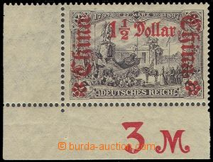 74818 - 1913 Mi.46A, overprint 1½; $, L the bottom corner piece