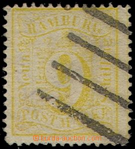 74844 - 1864 Mi.18, value 9S yellow, exp. Rieger, thin place in the