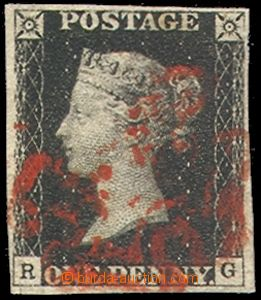 74897 - 1840 Mi.1, letters R-G, wide margins and nice red postmark M