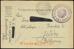 74925 - 1915 S.M.S. CUSTOZA, round violet postmark with eagle, CDS F