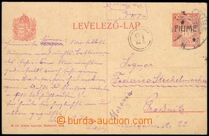 74949 - 1919 Hungarian PC Mi. P5, sent from Fiume to Prostějov, lit