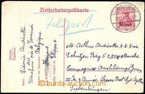 74954 - 1917 BELGIEN  dopisnice  Mi.P7 zaslaná předepsaným způso