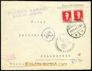 74968 - 1943 letter to BOHEMIA-MORAVIA with Mi.303 2x, period union