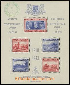 75034 - 1943 Exile issue, London MS, green postmark from favor CS.FP