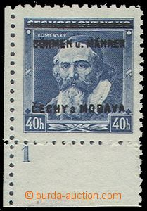 75040 - 1939 Pof.6, Comenius 40h, corner stmp with plate number 1, o