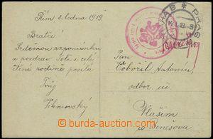 75061 - 1919 ČSR I.  pohlednice z Říma zaslaná do ČSR přes kur