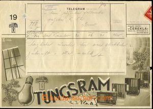 75066 - 1930 telegramní blanket č.19, s reklamou Tunsgram, rádia,