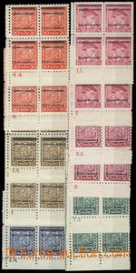 75085 - 1939 Pof.1-10, comp. 11 pcs of corner blk-of-4 with various