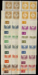 75087 - 1941 Pof.SL1-12, I.vydání, levé dolní rohové 4-bloky, v