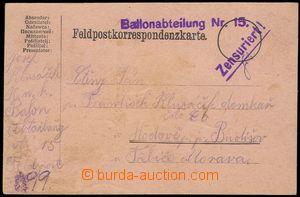 75096 - 1916 Ballonabteilung Nr.15, fialové řádkové raz. doplně