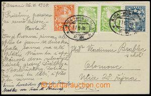 75124 - 1938 pohlednice zaslaná do ČSR s bohatou frankaturou výplatn