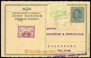 75128 - 1919 Maxa J76, PC Charles 8h green uprated with stamp Pof.3,