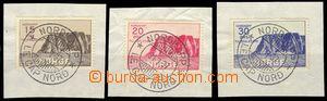 75203 - 1937 Mi.159-161, Nordkap, cut-squares with postmark NORDKAP/