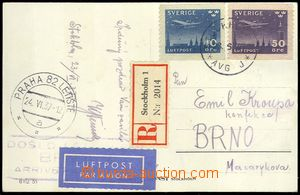 75240 - 1937 Reg and airmail postcard to Czechoslovakia, franked wit