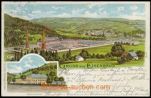75301 - 1899 ŽELEZNÝ BROD (Eisenbrod) - litografie, továrna a tov