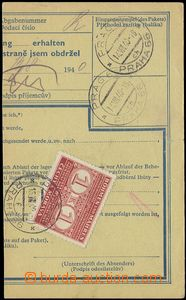 75316 - 1940 cut parcel dispatch-note on reverse mounted stamp. 1 Ko