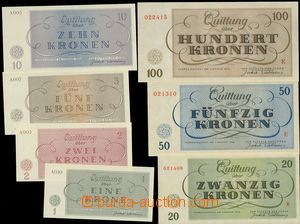 75324 - 1943 C.C. TEREZIN-THERESIENSTADT  complete set 7 pcs of bank
