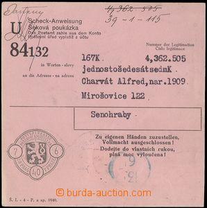 75325 - 1940 šeková poukázka Poštovní spořitelny Praha s vylep