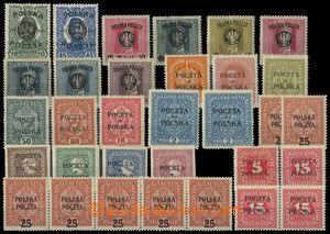 75406 - 1918-19 selection of 32 pcs of stmp with overprint Mi.17, 19