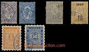 75413 - 1882-1909 sestava 6ks známek, Mi.12, 18, 29, 74, Doplatní Mi