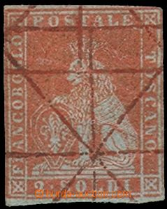 75425 - 1851 TUSCANY  Mi.3x, value 2So red-brown, hand obliteration,