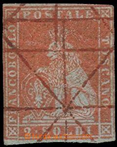 75425 - 1851 TOSKÁNSKO  Mi.3x, hodnota 2So červenohnědá, ručně zneho