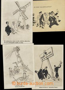 75475 - 1950 sestava 4ks pohlednic s karikaturou kapitalistů, signo