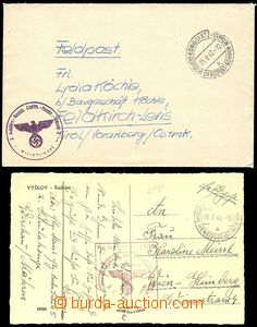 75494 - 1940-42 letter and postcard Us German Service post Bohemia a
