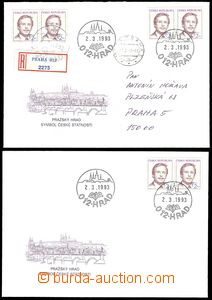 75496 - 1993 POB2 Wenceslas Havel, 2 pcs of, 1x Un, 1x sent with upr