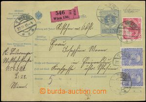 75504 - 1915 whole parcel card with imprinted stamp 10h, with Mi.182