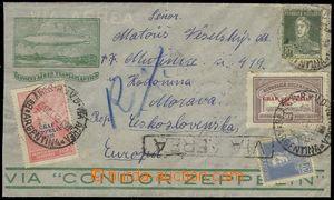 75513 - 1932 ARGENTINA  letecký R-dopis zaslaný do ČSR, vyfr. mj. př