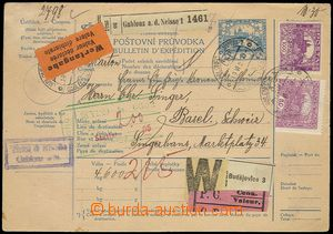 75553 - 1920 CPP13, mezinárodní balíková průvodka na cenný bal