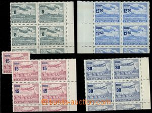 75575 - 1949 Pof.L29-32K, overprint 15Kčs light color, marginal blo