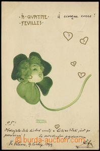 75591 - 1899 KIRCHNER Raphael, dívčí hlavička ve čtyřlístku,