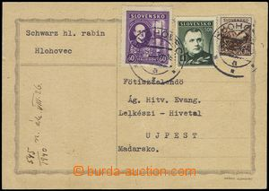 75597 - 1940 JUDAICA, card  to Hungary, sender main rabbi from Hloho