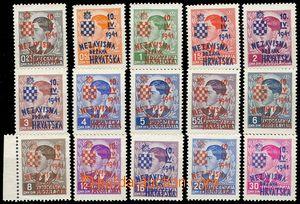 75626 - 1941 Mi.24-38 overprint, c.v.. 600€