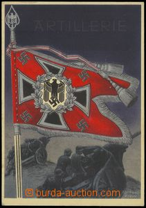 75636 - 1943 dělostřelectvo, standarta zbraně, barevná, sign. G.