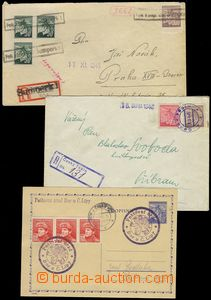 75644 - 1945 comp. 3 pcs of entires with nouzovými postmarks, 2x as