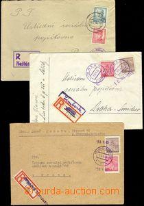 75683 - 1945-46 sestava 3ks R dopisů s provizorními razítky a R -