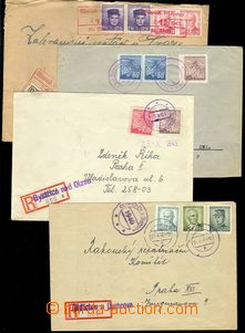 75710 - 1945-46 sestava 4ks R dopisů s provizorními razítky i R -