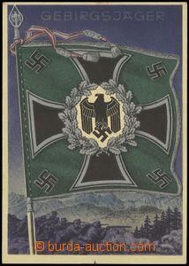 75728 - 1943 horští myslivci, standarta zbraně, barevná, sign. G