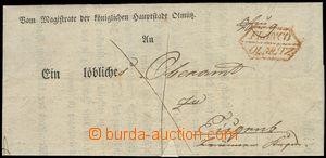 75742 - 1838 folded letter with print frame postmark FRANCO / OLMÜT