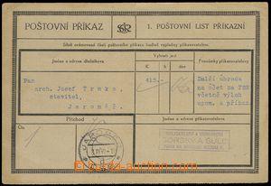 75785 - 1932 Poštovní příkaz, část I. poštovní list příkaz