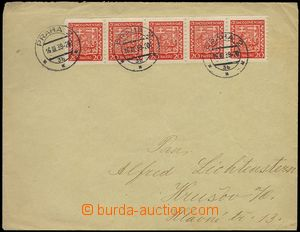 75793 - 1939 letter franked with. Czechosl. stamp. coil- 20h Coat of