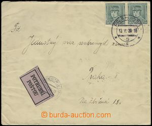 75798 - 1939 letter sent pneumatic-tube post, franked with. pair Cze