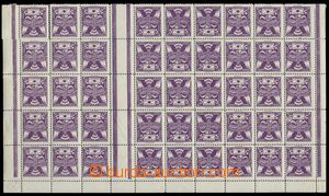75799 -  Pof.144, 5h violet, part of sheet with 45 pcs of stamp. for