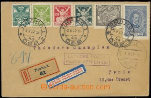 75804 - 1922 Reg and airmail letter to Paris, direction label, cache