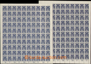 75813 -  Pof.143A, 5h blue, 2 pcs of complete 100-stamps sheets, con